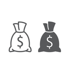 money bag line and glyph icon finance and banking vector image