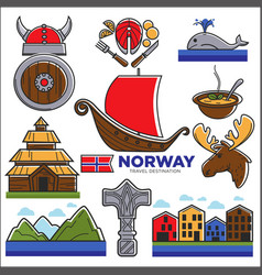 Norway travel destination poster with isolated vector