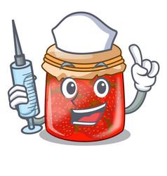 Nurse strawberry marmalade in glass jar of cartoon vector