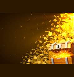 open chest with gold falling from top a lot vector image