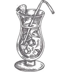 Pina colada cocktail hand drawn vector