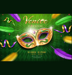 poster with masquerade mask for mardi gras vector image
