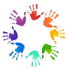 Rainbow prints of children hands in the circle vector