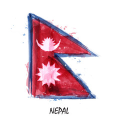 Realistic watercolor painting flag of nepal vector