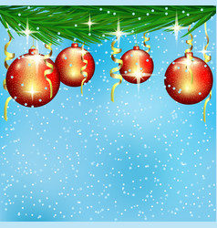 red christmas balls on spruce branches vector image