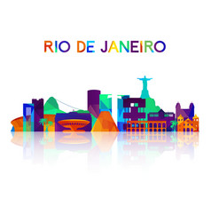 rio de janeiro skyline silhouette in colorful vector image