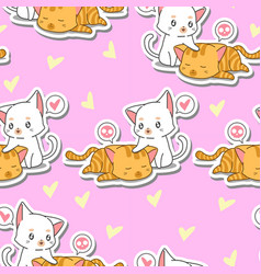 Seamless 2 cute cats is taking care its friend vector