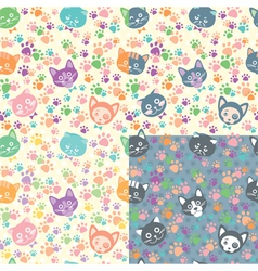Seamless background cat faces vector image