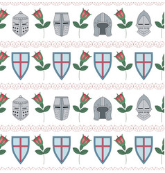 seamless pattern with medieval helmets shields vector image