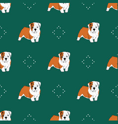 seamless pattern with puppy bulldog on green vector image