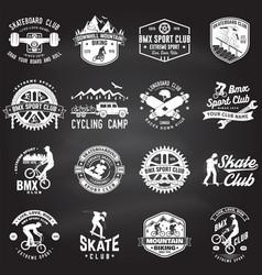 Set bmx skateboard mtb extreme sport club vector