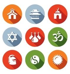 set religion icons catholic buddhism vector image