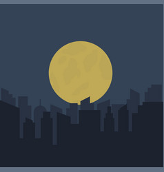 silhouette urban scenery at night vector image