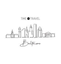 single continuous line drawing baltimore city vector image