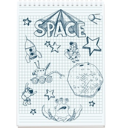 Sketch space themed vector