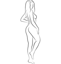 Sketch woman holding her back and massaging her vector