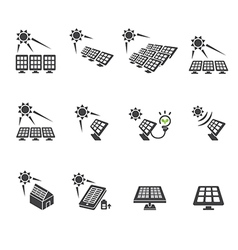 solar cell icon set vector image