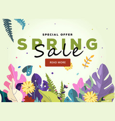 spring sale banner template leaves and flowers vector image