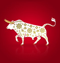 stylized white bull with gold ornament vector image
