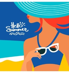 Summer background with beautiful woman silhouette vector image