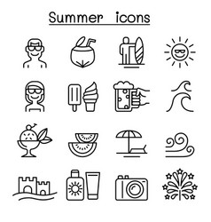 summer icons set in thin line style vector image