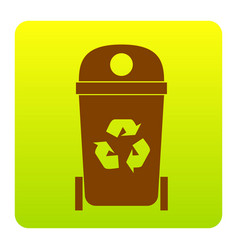 Trashcan sign brown icon at vector