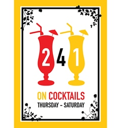 Two for one on cocktails deal vector