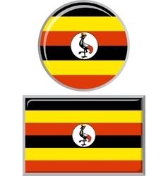 ugandan round and square icon flag vector image