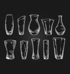 vase set sketch black vector image