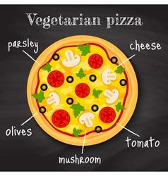 vegeterian pizza vector image