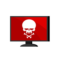 virus in computer skull on monitor cyber attack vector image