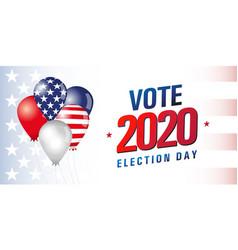 vote usa 2020 flag balloons banner vector image