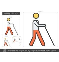 Walking stick line icon vector