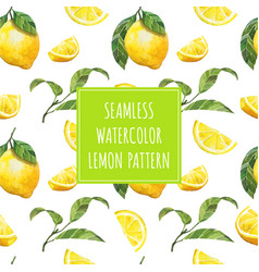 Watercolor lemon seamless pattern vector