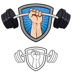 Weightlifting gym mascot vector