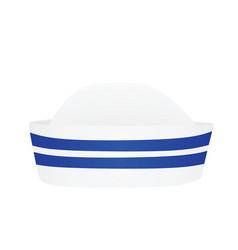white sailor hat blue stripes vector image