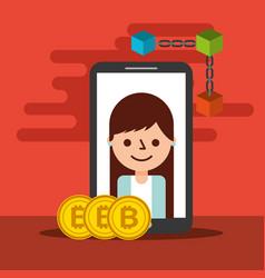 woman smartphone bitcoin blockchain trade vector image