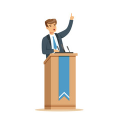 Young politician speaking behind the podium vector