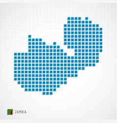 zambia map and flag icon vector image