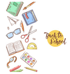 back to school hand drawn educational concept vector image vector image