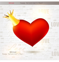 beautiful red heart with crown valentines day back vector image vector image
