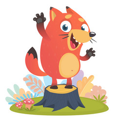 cartoon cool little fox standing and waving vector image vector image