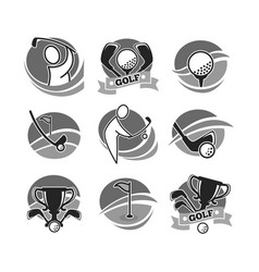 golf game logotypes in grey color set isolated on vector image vector image