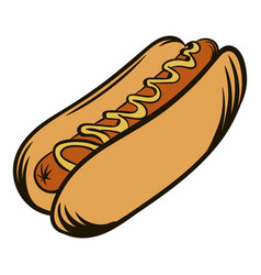 hot dog with mustard icon cartoon vector image