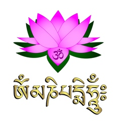 Lotus flower om and mantra vector image vector image