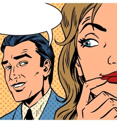 Man calls woman retro style comic pop art vintage vector