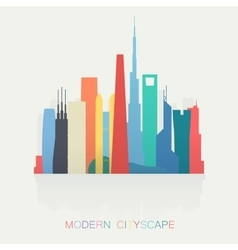 modern different colors skyline cityscape isolated vector image