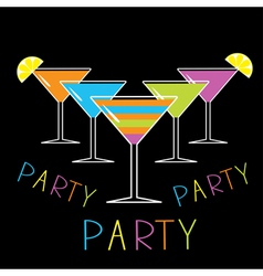 Set of five glasses with different cocktails party vector image vector image