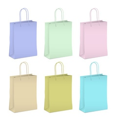 Six empty shopping paper bags in pastel colors vector image