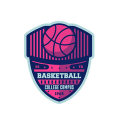 basketball college campus vintage label vector image